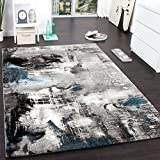 Paco Home Teppich Modern Designer Teppich Leinwand Optik Meliert Grau Türkis Creme, Grösse:80x150 cm