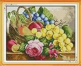Dahlia DIY Kits de broderie au point de croix Imprimé Broderie faite à la main Needlework murale Home Decor Size 52x42CM Fruit basket(4)