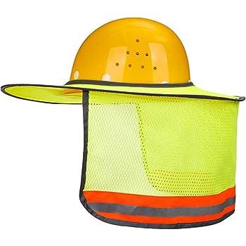 ffd6a8a3 LUCKYDIY Hard Hat Sun Shield, Full Brim Mesh Neck Sun Shade Protector High  Visibility, Reflective (Hard Hat Not Included) (Yellow)