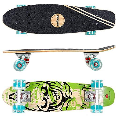 FunTomia® Mini-Board Skateboard aus kanadischem Ahornholz oder Kunstoff inkl. ABEC-11 MACH1® Kugellager (Mini-Board aus 7-lagigem Ahornholz in Grün Totenkopf / petrol Rollen mit LED)