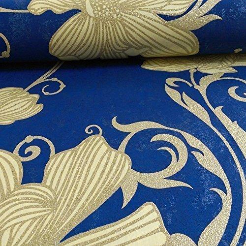 Blätter Blau-tapeten (P&S International Blumen Muster Blumen Blätter Glitzer Motiv Geprägte Tapete - Blaues Gold 13344-40)