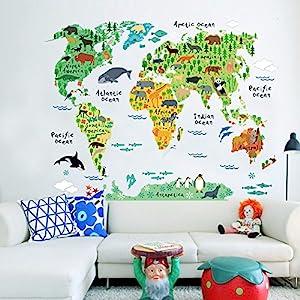Fashion designanimal Mapa del Mundo Dormitorio Salón Antecedentes pegatinas de pared impermeable desmontable, 60*90cm
