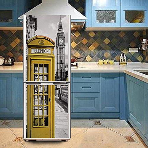 hhys Haushalt Kühlschrank Gefrierschrank DIY Aufkleber wasserdicht Selbstklebende Tapete Gelb Telefon Stand und grau Big Ben Muster, 60x150cm(23.6''x59'') (Gelb Abnehmbaren Tapeten)