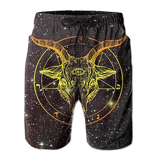 Funny&shirt Baphomet. Satanic Goat Head with Third Eye Men's Beach Shorts Printed Quick Dry Board Shorts Large