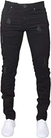 Enzo Mens Super Skinny Fit Jeans Stretch Ripped Biker Denim Pants All Waist Legs