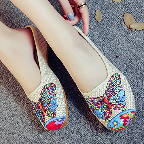 WXT Gestickte Schuhe, Sehnensohle, ethnischer Stil, weiblicher Flip Flop, Mode, bequem, Sandalen Beige