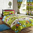 FARM YARD ANIMAL PIG DOG COW SHEEP TRACTOR SINGLE DUVET QUILT COVER BEDDING SET