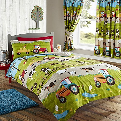 Kids Club Parure de lit Simple ou Double à Motif Ferme - Enfant (Lit Simple) (Vert)