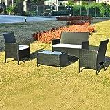 Merax Polyrattan Loungeset Gartenset Gartenmöbel Sitzgruppe Gartentisch 4-teiliges Lounge Set Balkon in Rattanoptik (Schwarz)