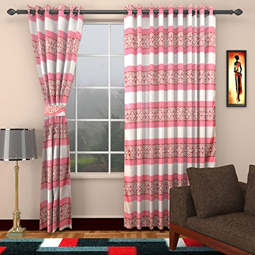 Ajay Furnishings 2 Piece Polyester Stripe Door Curtain - 7 ft, Pink