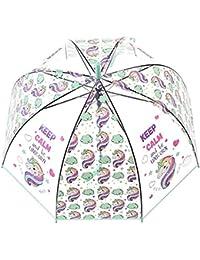 Unicornio Paraguas transparente con Forma de Cúpula y Función Antiviento. Paraguas Vogue Burbuja Infantil, Paraguas Originales…