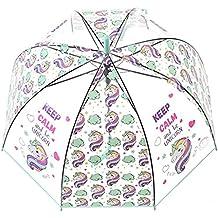 Unicornio Paraguas transparente con Forma de Cúpula y Función Antiviento. Paraguas Vogue Burbuja Infantil,
