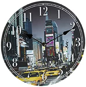 horloge murale new york taxi image 30 30cm circulaire le droit des dessins decoration. Black Bedroom Furniture Sets. Home Design Ideas