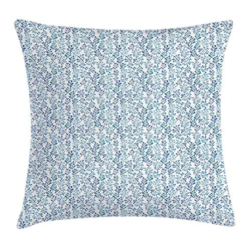 Dress rei Floral Throw Pillow Cushion Cover, Watercolor Brush Stroked Ornamental Style Blue Leaves Repeating Pattern, Decorative Square Accent Pillow Case, 18 X 18 Inches, Violet Blue and Blue 45cm Watercolor Floral Dress