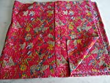 Tribal Asian Textiles Multicolor Paisley PARADISE Print King Size Kantha Quilt , Kantha Blanket, Bed Cover, King Kantha bedspread, Bohemian Bedding Kantha Size 90 Inch x 108 Inch 17
