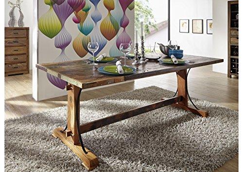MASSIVMOEBEL24.DE Massivmöbel lackiert Altholz Holz massiv Esstisch 140x90 massiv Möbel Massivholz Mehrfarbig Nature of Spirit #09