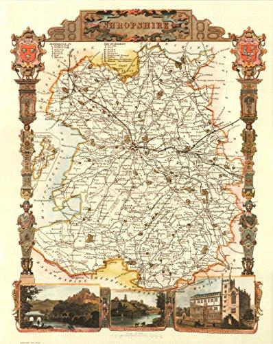 Shropshire-Antike Weltkarte-- Karte, 50.80 x 40.64 cm - County England-antik-karte