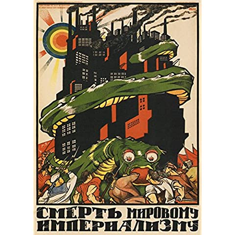 World of Art - Lámina de cartel de propaganda soviético de aprox. 1919 con mensaje en ruso