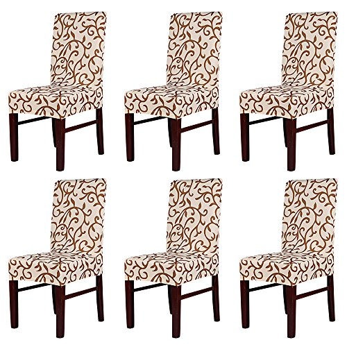 MultiWare Stretch Chair Seat Cover 2/4/6 Pcs Removable Washable Dining Room Stool Chair Slipcovers (6 PCS, Coffee)
