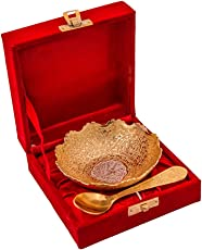 Anand Crafts Brass Jaipur Ace Traditional Silver and Gold Plated Bowl Set with Spoon (ABSG000125)