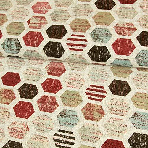 Stoffe Werning Dekostoff Waben rot braun Canvasstoffe - Preis Gilt für 0,5 Meter