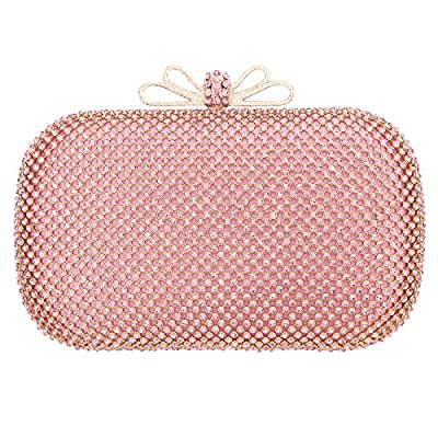 Bonjanvye Bow Purse for Girls Crystal Rhinestone Clutch Evening Bags