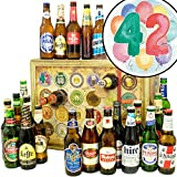 42. Geburtstagsgeschenk | Bieradventskalender mit Bieren aus aller Welt | Geschenke 42. Geburtstag | INKL gratis Bierbuch