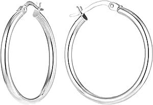 Charmsy Argento Diamond cut classic italiano orecchini a cerchio per le donne