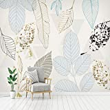 HONGYUANZHANG Benutzerdefinierte Wandbild Tapete Moderne 3D Handgemalte Aquarell Blatt Wand Wohnzimmer Schlafzimmer Tv Hintergrund Wand Papier Wandmalerei,110cm (H) X 190cm (W)