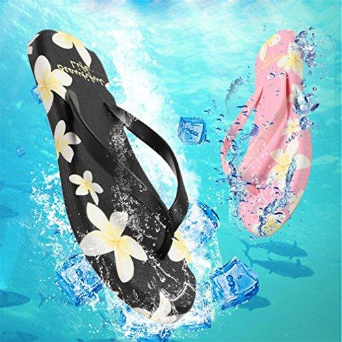 Bluestercool Infradito da Bagno Donna Estive Eleganti per Spiaggia e Piscina Floreale Flip Flops Nero