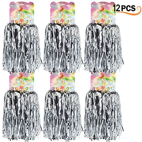 12er Pack Cheerleading Pom Poms - Ultra Shining Pom Pom Cheerleader Puschel Tanzpuschel Party Sport Fußball Zubehör (Slive)