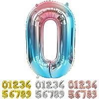 Ponmoo Geant Ballon Chiffre 0 Bleu, Ballon Age Helium Ballons Numéro Anniversaire Chiffres