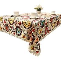 Sol Flores Mantel de Bohemia floral Lino y algodón mantel con borde de encaje 100 x