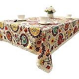 Sun Flower Tischdecke Bohemia Floral Leinen Baumwolle Tischdecke mit Spitze Edge 100x 140, Textil, 140*200CM