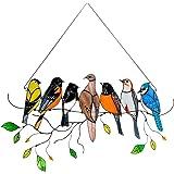 JKKJ Multicolor vogels hoge gebrandschilderd glas Suncatcher venster paneel, vogel serie ornamenten hanger woondecoratie, cad