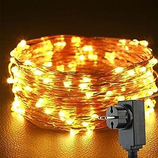 Uping Guirnalda Luminosa Cadena de luces LED Alambre de Cobre Impermeable, para Navidad Fiestas Bodas Jardín Uso Exterior e Interior (Blanco cálido)