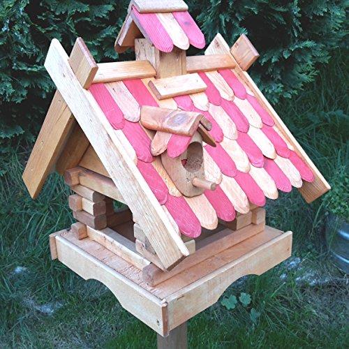 Vogelhaus Massivholz Schreinerarbeit Futterhaus Vogelhäuschen --Wetterschutz-- K21aCB