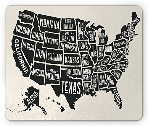 USA Mouse Pad, Black and White Style United States of America Map with Written State Names, Standard Size Rectangle Non-Slip Rubber Mousepad, Beige Charcoal Grey -