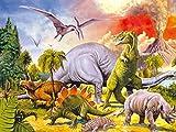 1art1 84520 Dinosaurier - Collage, Dino-Welt, 2-Teilig Fototapete Poster-Tapete 240 x 180 cm