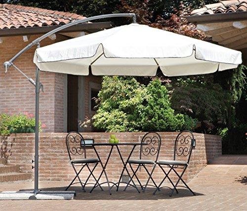 Ombrellone da giardino rotondo Ø 3 m. Palo Ø 48 mm - 8 balene - con manovella Ombrellone parasole per esterni con Fusto in alluminio color antracite Base a croce