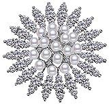 Via Mazzini Platinum Plated Flower Bouquet Brooch Cum Saree Pin For Women And Girls (Brooch0578)-Silver