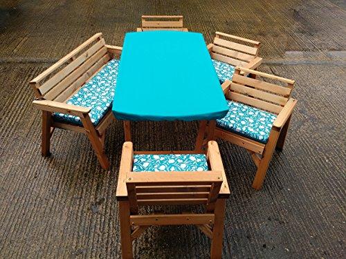 FENTON GARDEN FURNITURE. Made & Delivered 6'Tisch 2Bänke & 2Stühle. Holz Patio-Möbel Set. Mit Kissen Set. Türkis (Patio-stuhl-kissen Türkis)