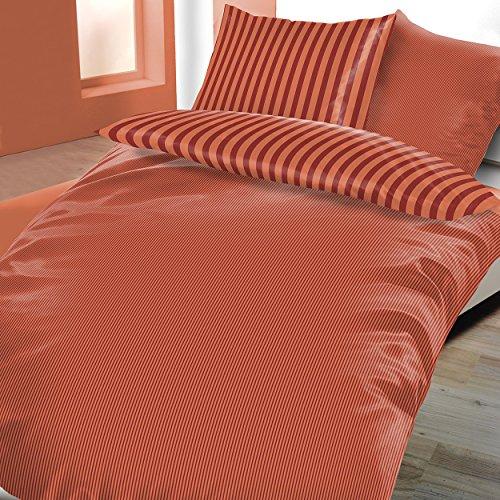 Satin Baumwolle Wendebettwäsche 4 teilig 155x220 cm Streifen Edel