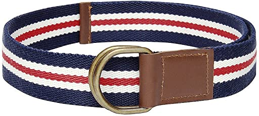 """Frow 38mm width Multi colour Cotton Belt with 2 Antique Rust free""""D"""" Rings. 32 Inch"""