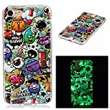 OnlyCase Cover iPhone 7 / iPhone 8, Premium Elegante Effetto Luminoso TPU Morbida Silicone Gel Elegante Custodia con,Nottilucente Verde Glow in The Dark Custodia Antiurto, Graffiti