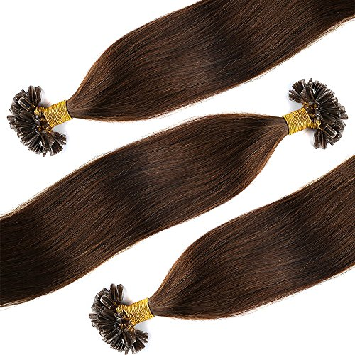 Bonding Extensions Echthaar U-Tip Haarverlängerung 100 Strähnen Echthaarsträhne/0,5g 55cm(#4 Schokobraun)