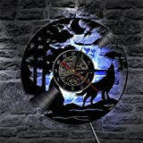 Aoligei Luminoso reloj de pared record de pegamento negro de lobo con la pared de vinilo...