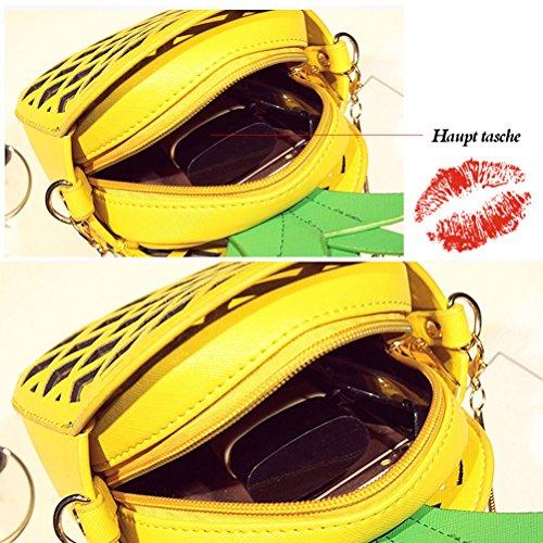 Honeymall Sacchetti di spalla delle donne di cuoio di cuoio dell'unità di elaborazione sacchetto del messaggero delle borse della catena di figura dell'ananas nero