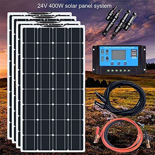 YAMEIJIA Boguang 24V 400w Flexibles Solarmodul Mono mit 20A Steuergerät Photovoltaikkabel Solar Modul Kit RV Boat Caravan Charging