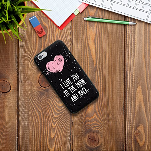 iPhone 6 6S Hülle, WoowCase Handyhülle Silikon für [ iPhone 6 6S ] Herz Liebe Satz - I Love You To The Moon And Back Handytasche Handy Cover Case Schutzhülle Flexible TPU - Schwarz Housse Gel iPhone 6 6S Schwarze D0265